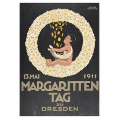 Original Antique Poster Margaritten Tag Dresden Daisy Flowers Child Charity Day