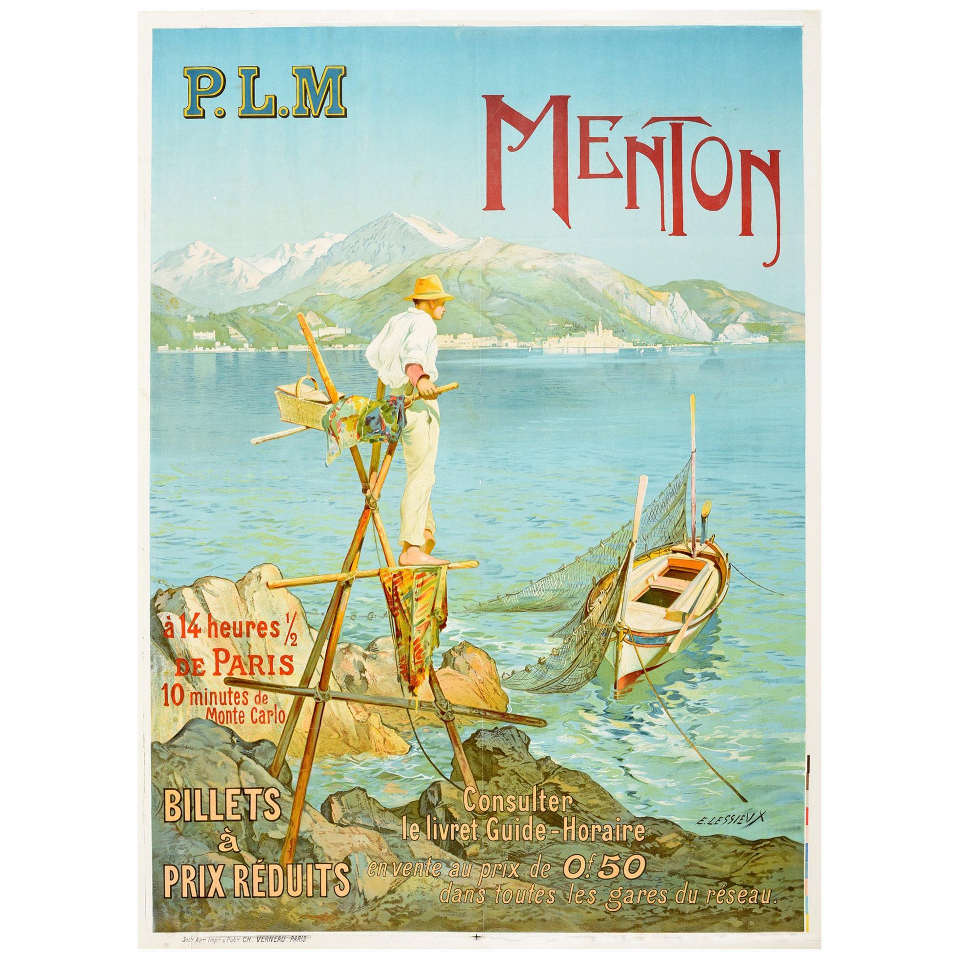 Original Antique Poster Menton Paris Lyon Mediterranee PLM Railway Travel France