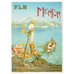 Original Antique Poster Menton Paris Lyon Mediterranee PLM Railway Travel France