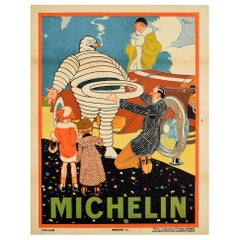 Original Antique Poster Michelin Man Bibendum Tyre Change New Tire Classic Car