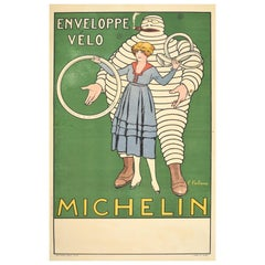 Original Antique Poster Michelin Man Bicycle Tyres Tires Iconic Bibendum Design