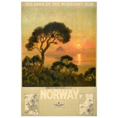 Original Antique Poster Midnight Sun Norway Travel Gronoy Bolgen Mountain View