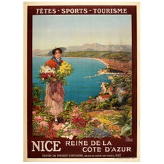 Original Antique Poster Nice Reine De La Cote D'Azur French Riviera Travel Sport