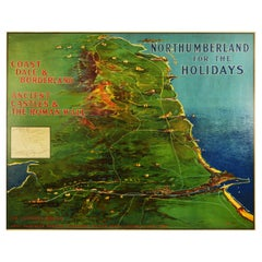 Original Antique Poster Northumberland Holidays Rail Travel Map Golf Roman Wall