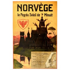 Original Antique Poster Norvege Norway Midnight Sun Stavkirke Church Travel Map
