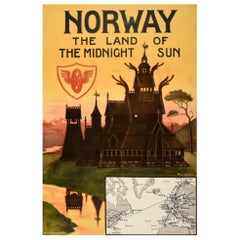 Original Antique Poster Norway The Land Of The Midnight Sun Stavkirke Travel Art