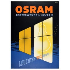 Original Antique Poster Osram Doppelwendel Lampen Light Bulbs Art Deco Design