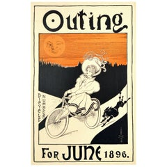 Original Antique Poster Outing Bicycle Number June 1896 Cyclist Dog Moon Artwork