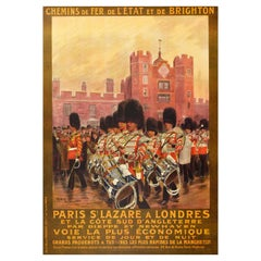 Original Antique Poster Paris St Lazare London French State And Brighton Railway