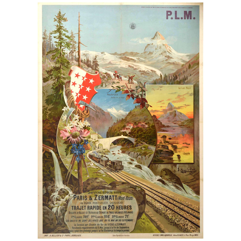 Original Antique Poster PLM Railway Paris Zermatt Matterhorn Lac Noir Neubruck