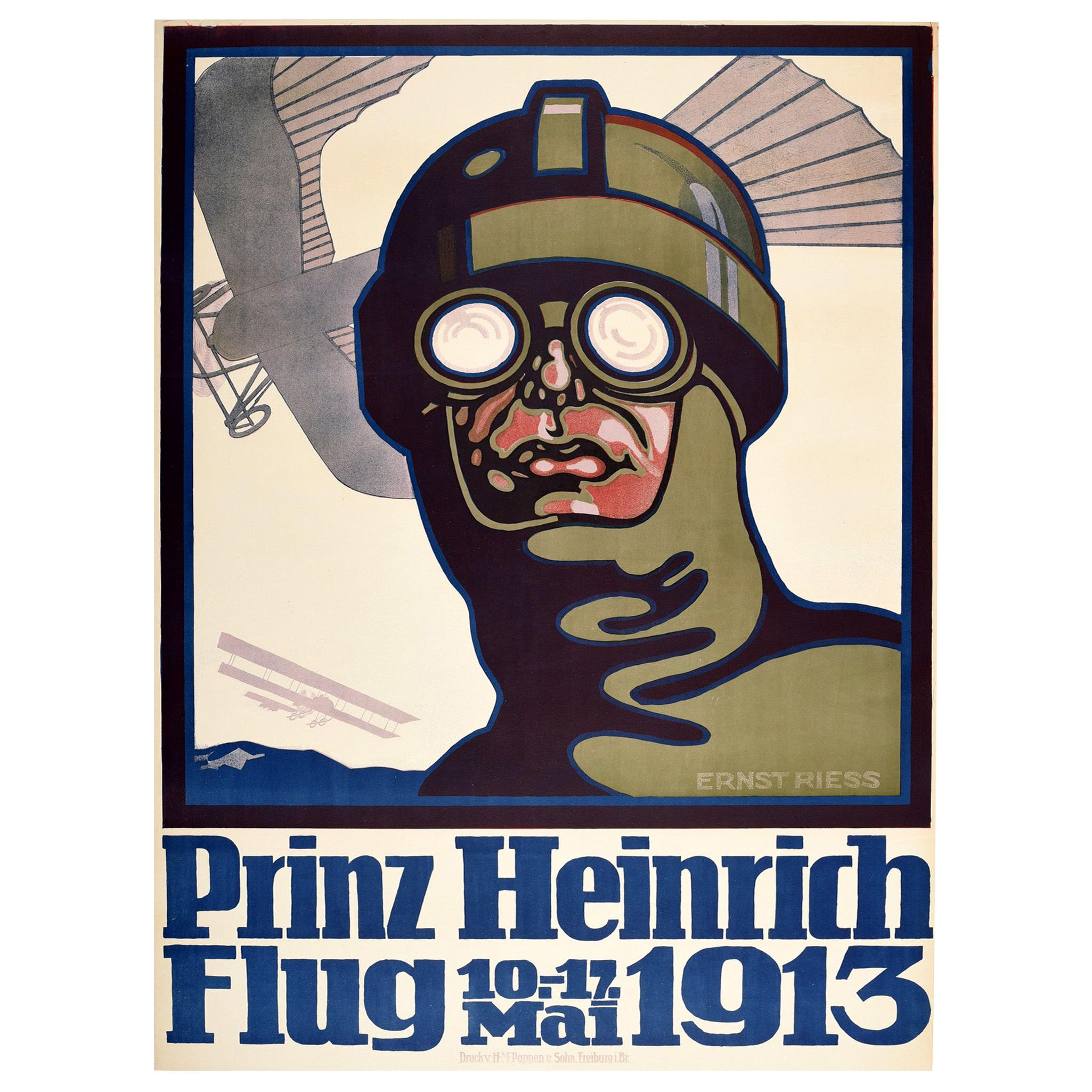 Original Antique Poster Prince Heinrich Flug 1913 Flight Race Early Aviation Art