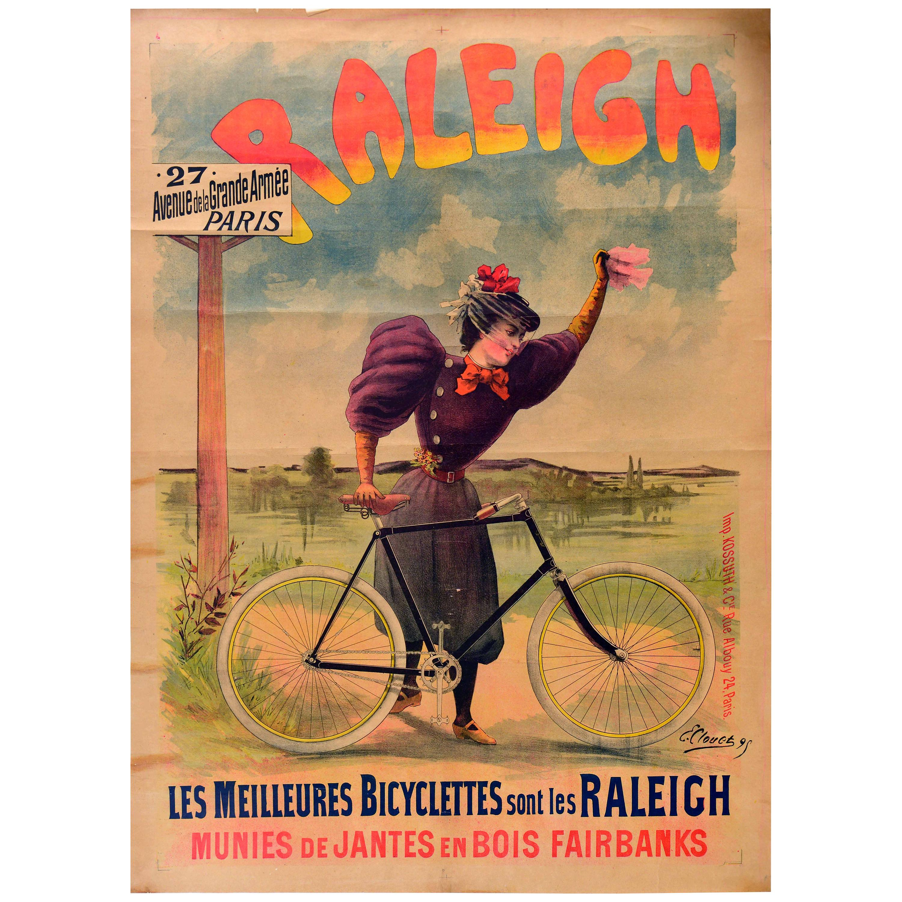 Original Antique Poster Raleigh Bicycles Meilleures Bicyclettes Cycles Bike Art