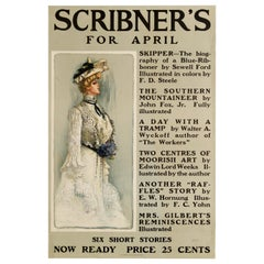 Original Antique Poster Scribner's For April 1901 Illustrated Magazine Stories