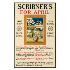 Original Antique Poster Scribner's Magazine April 1899 Illustrated Poems Stories