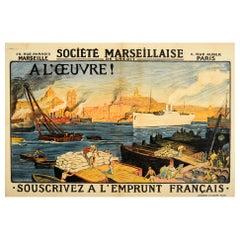 Original Antique Poster Societe Marseillaise De Credit Post WWI Rebuilding Loan