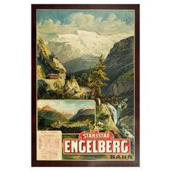 Original Antique Poster Stansstad Engelberg Railway Switzerland Swiss Alps View