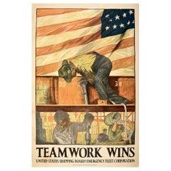 Original Antique Poster Teamwork Wins US Shipping Board Emergency Fleet WWI Flag