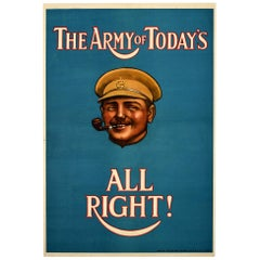Original Antique Poster The Army Of Today's All Right British Army Recruitment