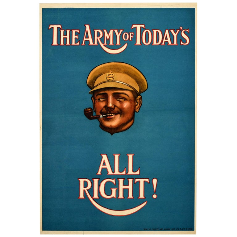 Original Antique Poster The Army Of Today's All Right British Army Recruitment For Sale