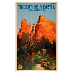 Original Antique Poster Tridentine Venetia Dolomites Alps Mountains Italy Travel