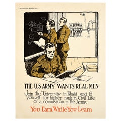 Original Antique Poster US Army Wants Real Men Military Recruitment Education