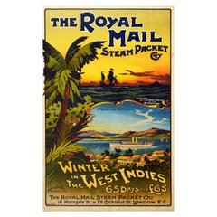 Original Antique Poster Winter In The West Indies Royal Mail 20th Century Voyage