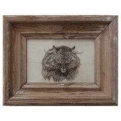 Original Antique Print of A Cat After Landseer, Early 19th Century
