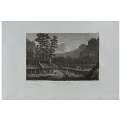 Original Antique Print of Ansiedlers Blockhouse, Pennsylvania, circa 1840