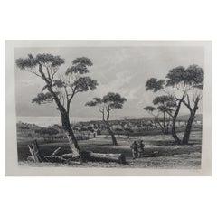 Original Antique Print of Geelong, Australia, circa 1850
