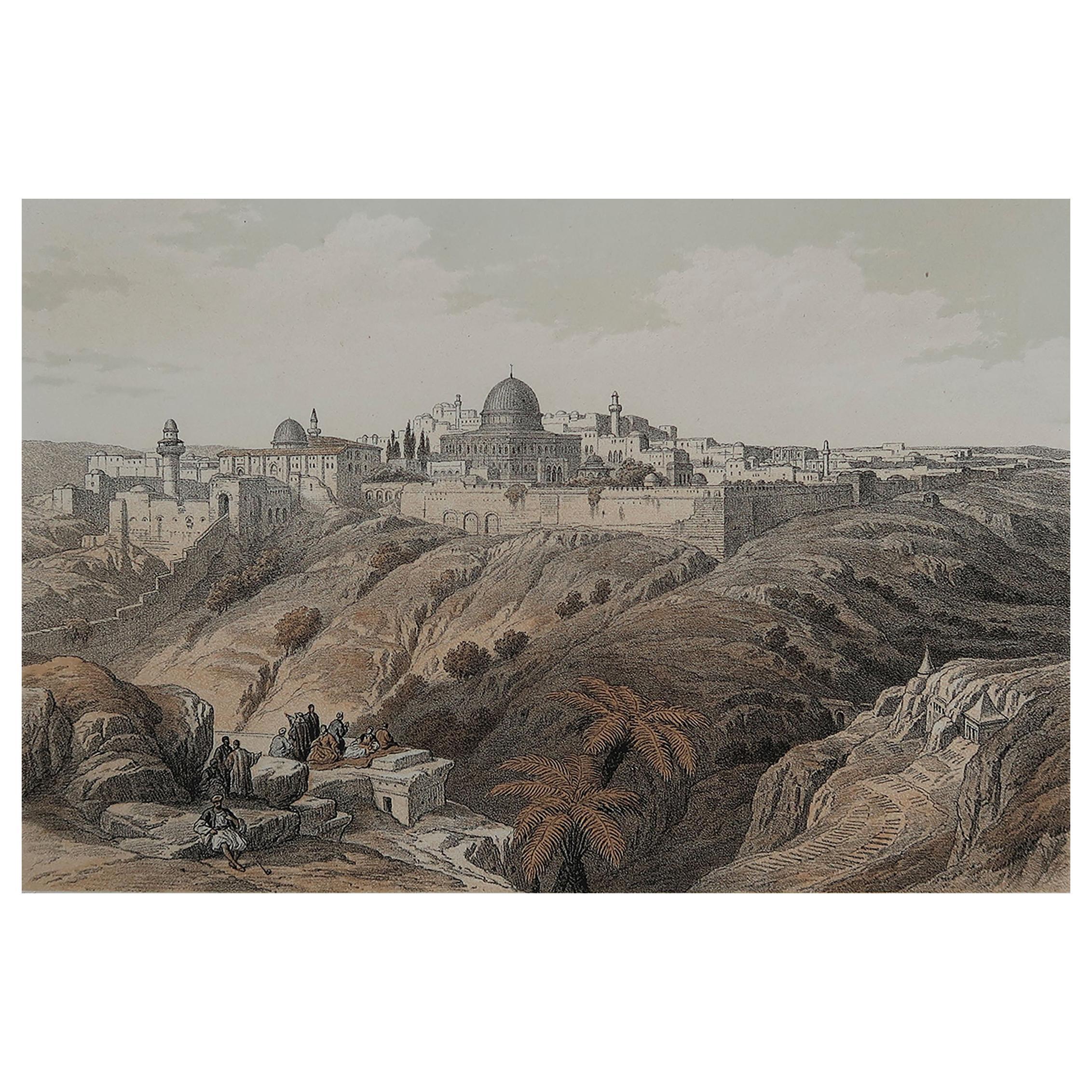 Original Antique Print of Jerusalem After David Roberts, C.1880