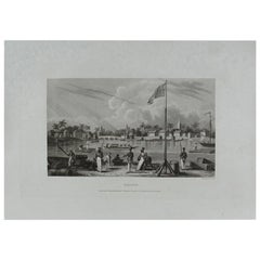 Original Antique Print of La Balize, Louisiana, circa 1850