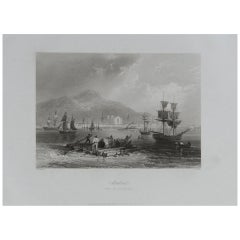 Original Antique Print of Montreal, Canada, circa 1850