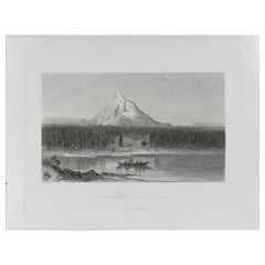 Original Antique Print of Mount Hood, Oregon, circa 1870