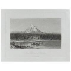 Original Antique Print of Mount Hood, Oregon, circa 1870