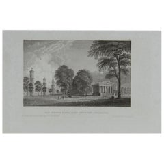 Original Antique Print of Newhaven, Connecticut, circa 1840