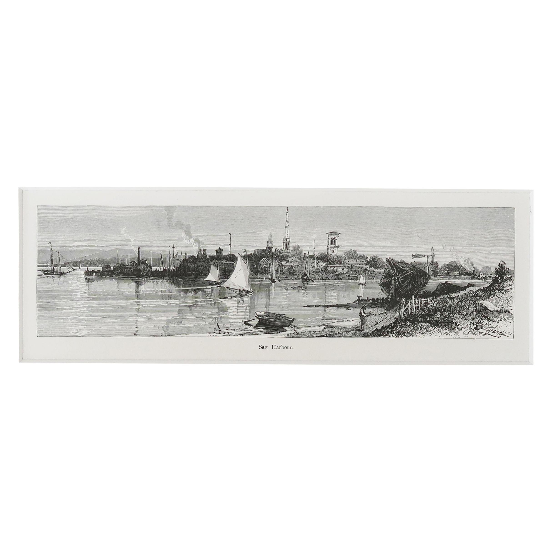 Original Antique Print of Sag Harbor, Long Island, New York, C.1870