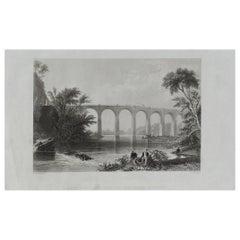 Original Antique Print of the Baltimore-Washington Railroad, circa 1850
