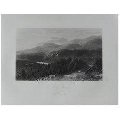 Original Antique Print of the Smoky Mountains, North Carolina, circa 1870