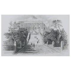Original Antique Print of The White House, Washington DC., 1827
