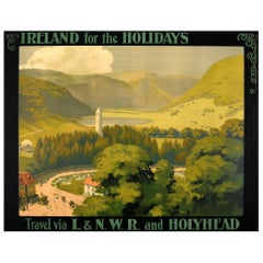 Original Antique Railway Travel Poster Ireland for the Holidays LNWR & Holyhead