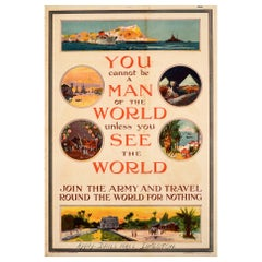 Original Antique Recruitment Poster - Join The Army And Travel Round The World