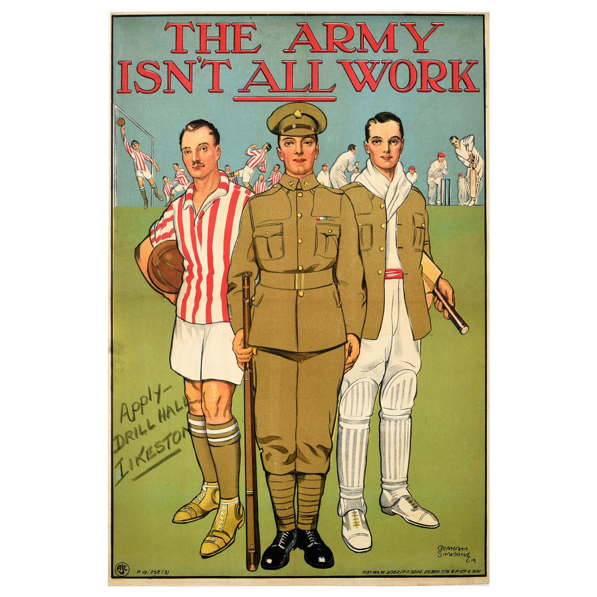 Original Antique Recruitment Poster - The Army Isn't All Work - Football Cricket