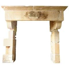 Original Antique Sandstone Castle Fireplace Mantel, 18th Century