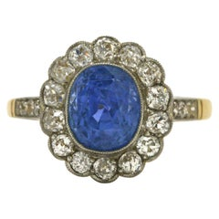 Original Edwardian Antique Sapphire Ring Over 4 Carats Diamond Halo