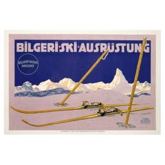 Original Antique Skiing Poster Bilgeri Werk Bregenz Austria - Matterhorn Zermatt