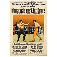 Original Antique Sport Poster International American Boxing Championship Germany