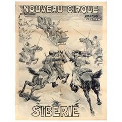 Original Antique Theatre Poster Nouveau Cirque Siberie Siberia Cossack Horse Art