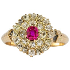Original Antique Victorian 18 Karat Gold Old Mine Ruby Ring