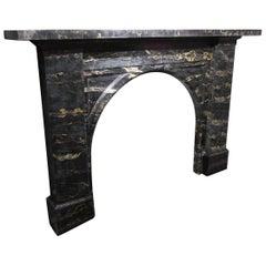 Original Antique Victorian Portoro Marble Arched Fireplace Mantel Piece