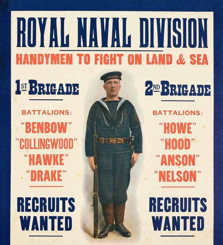 Original antique World War One Royal Navy recruitment poster - Royal Naval Division Handymen to fight on land and sea 1st Brigade Battalions Benbow Collingwood Hawke Drake Recruits Wanted 2nd Brigade Battalions Howe Hood Anson Nelson Recruits Wanted